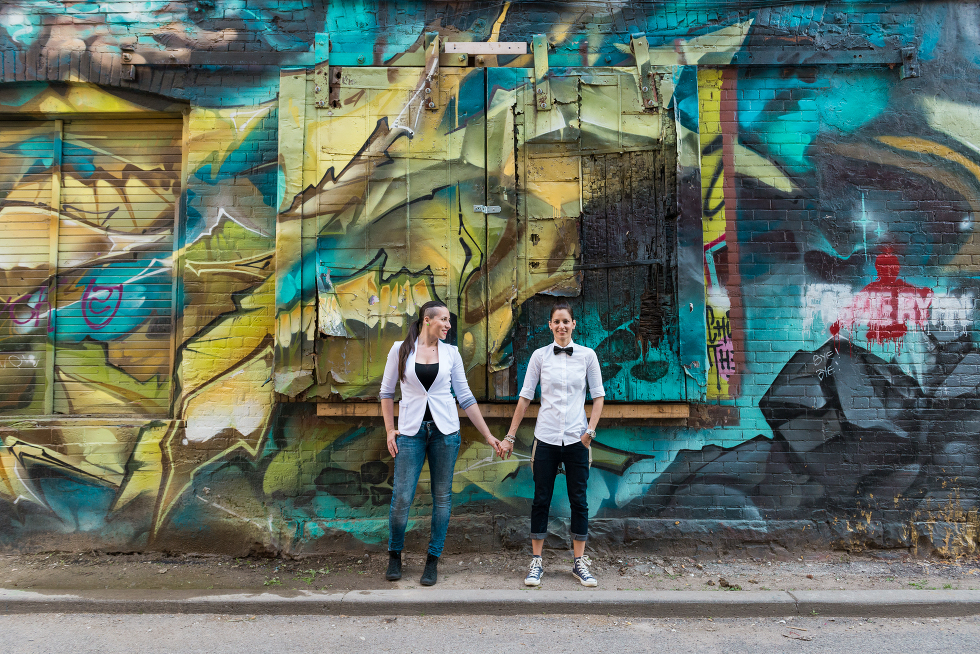 Urban Toronto Engagement, Gillian Foster Photography, Graffiti Alley