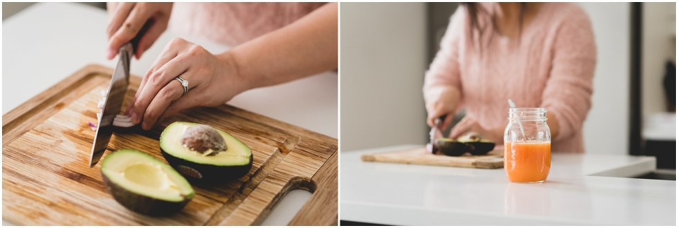 Woman chopping avocado and onions.
