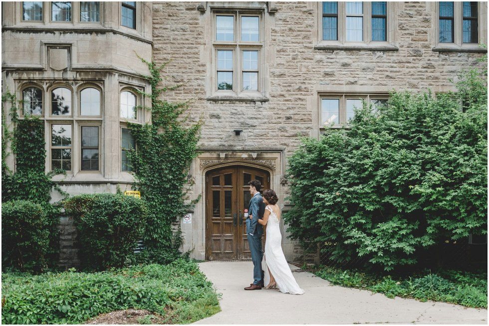 Bride greeting groom during their University of Guelph First look