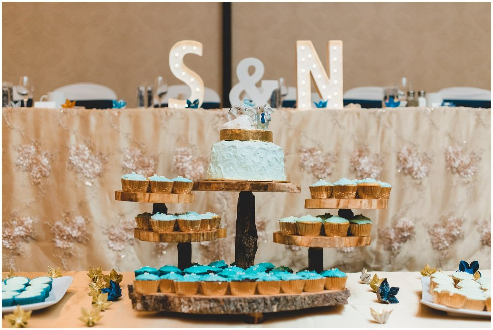 Wedding cake surrounded by teal and blue frosted cupcakes