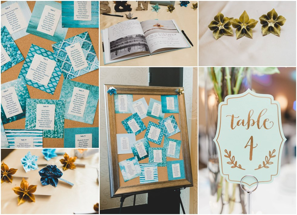 Teal and gold wedding decor