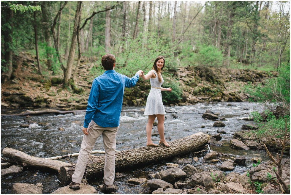 Couple by the river during their Hilton Falls engagement photos