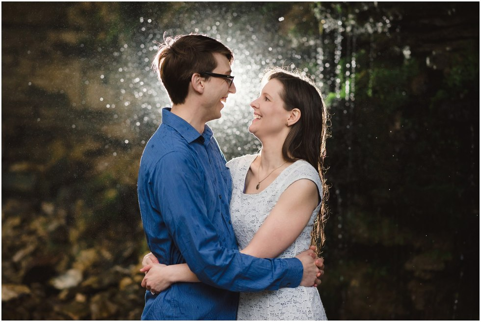 Couple smiling at each other during their Hilton Falls engagement photos