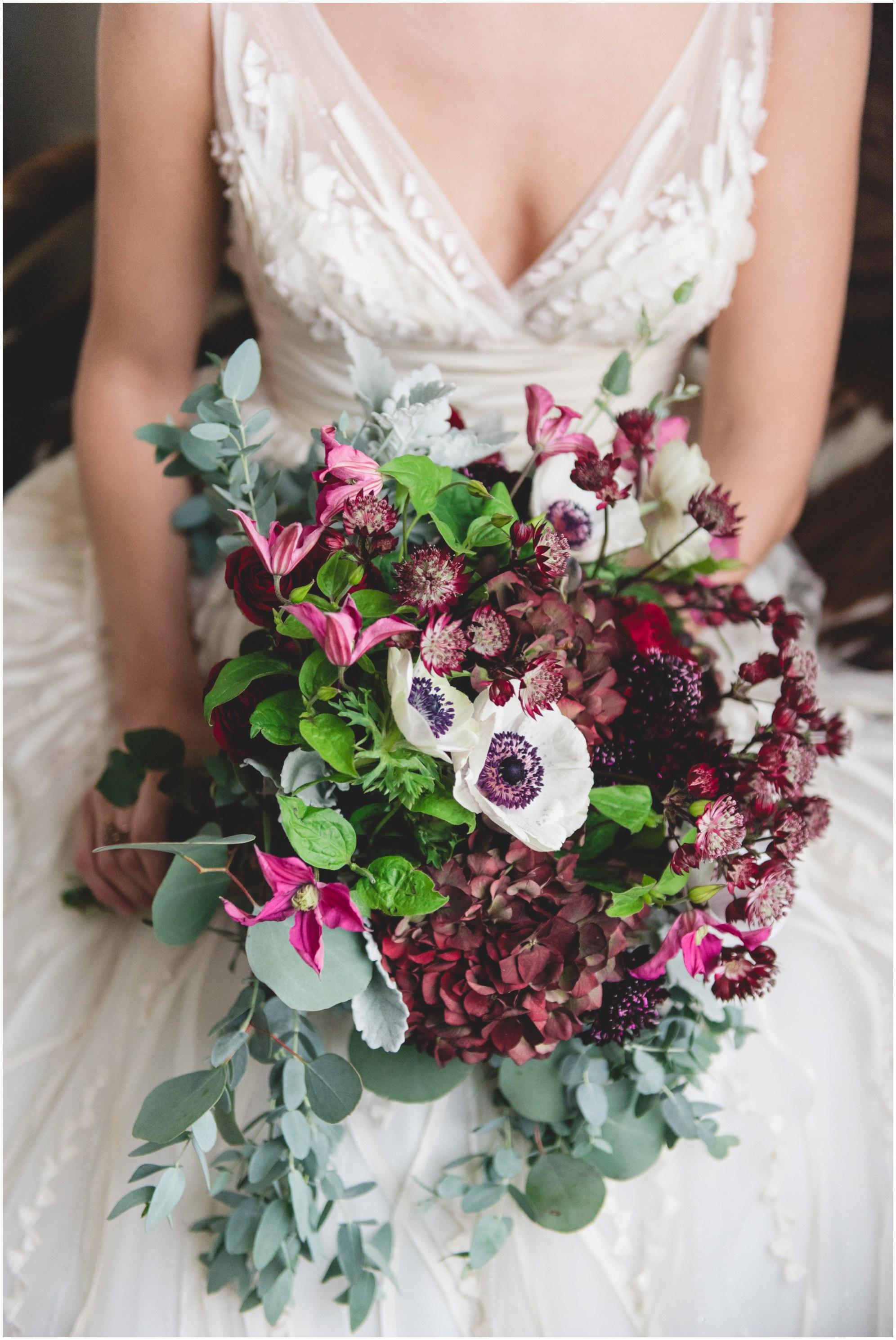 burgundy flowers, burroughes winter wedding