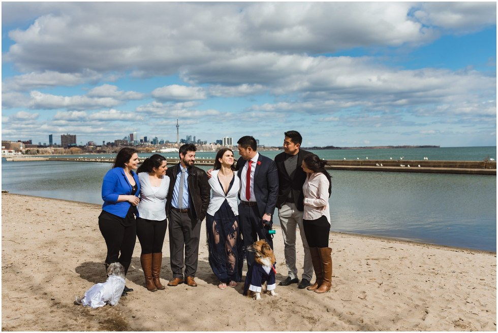 couple surrounded by friends, family, and two dogs on beach with Toronto skyline in the background proposal photography