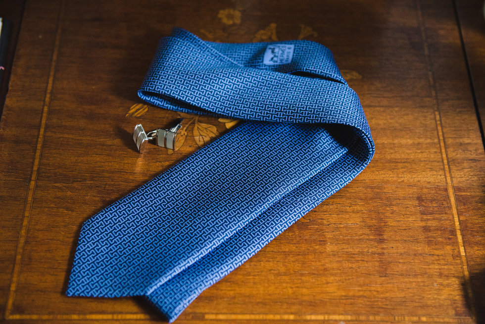 toronto wedding photographer shooting a blue grooms tie with cuff links
