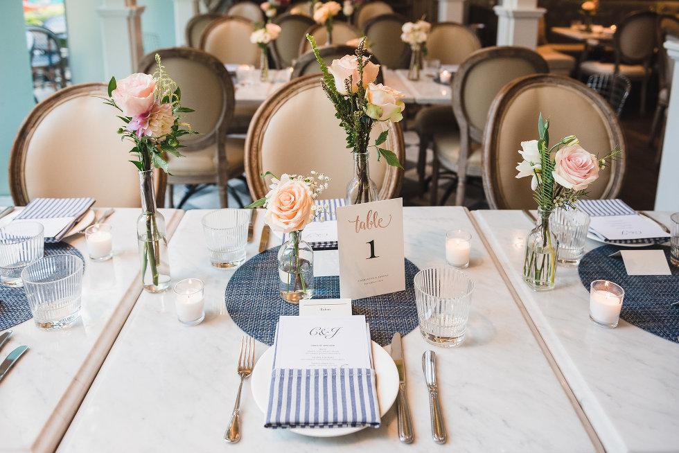 wedding table settings peach coloured roses Toronto wedding photography