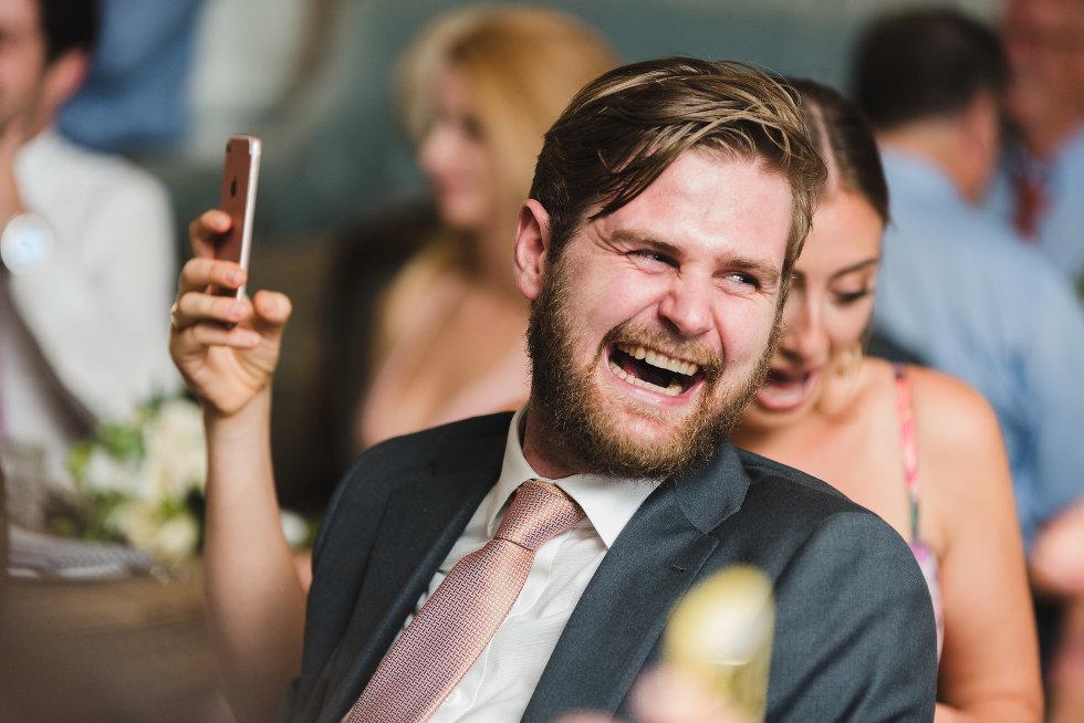 wedding guest with huge smile Toronto wedding photography