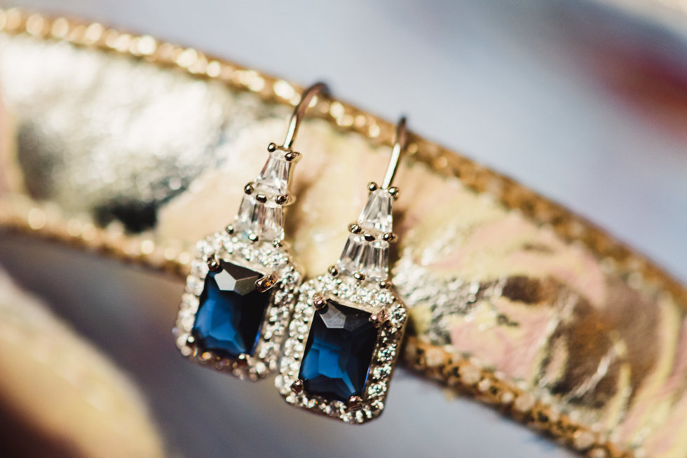 diamond and blue sapphire silver square earrings Niagara wedding photography