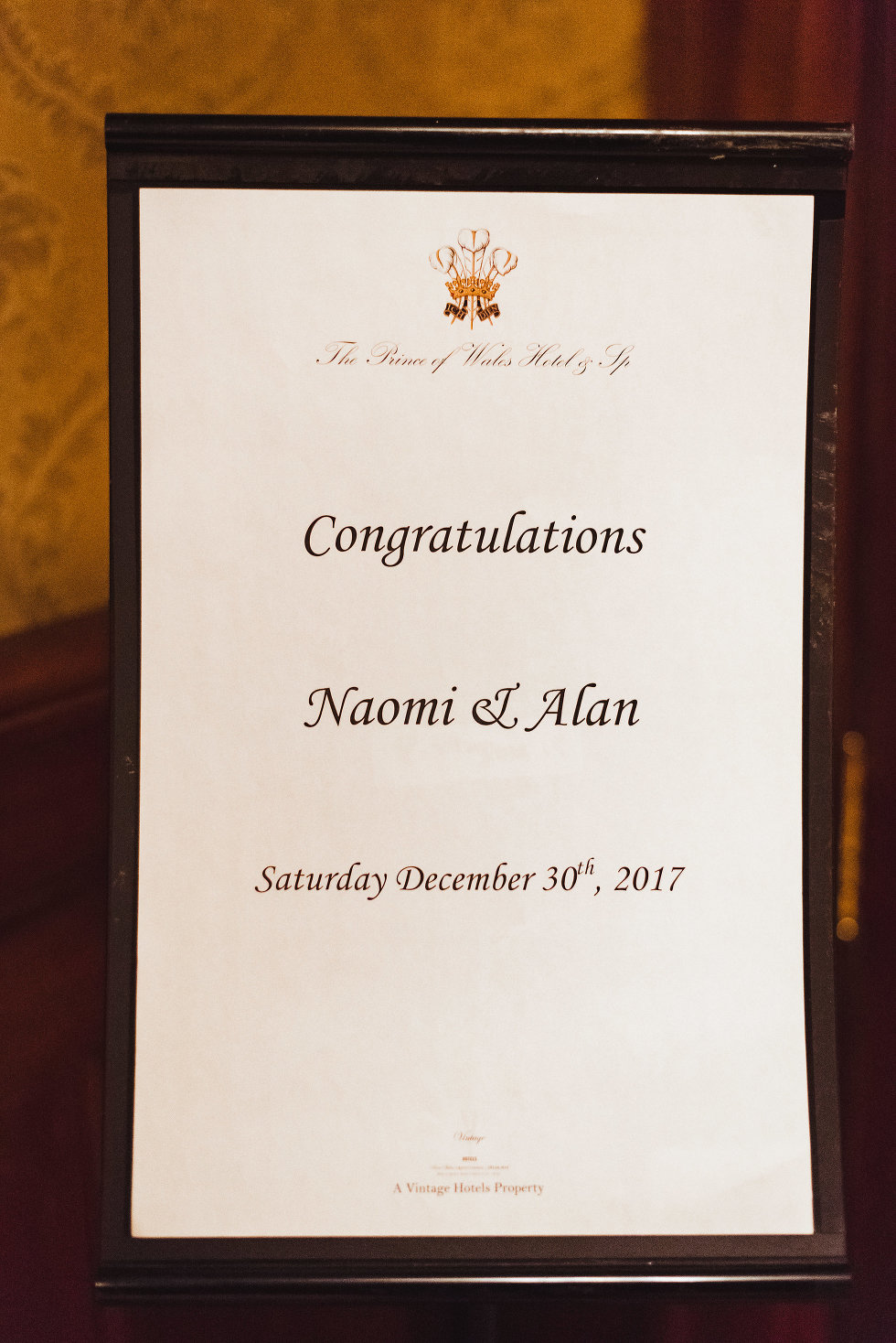 "display board saying ""congratulations Naomi & Alan, Saturday December 30th, 2017"" Niagara wedding photography"