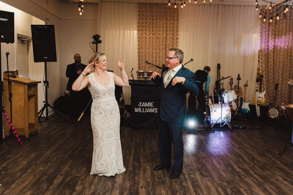 father dancing with the bride Canadian Canoe Museum wedding photography