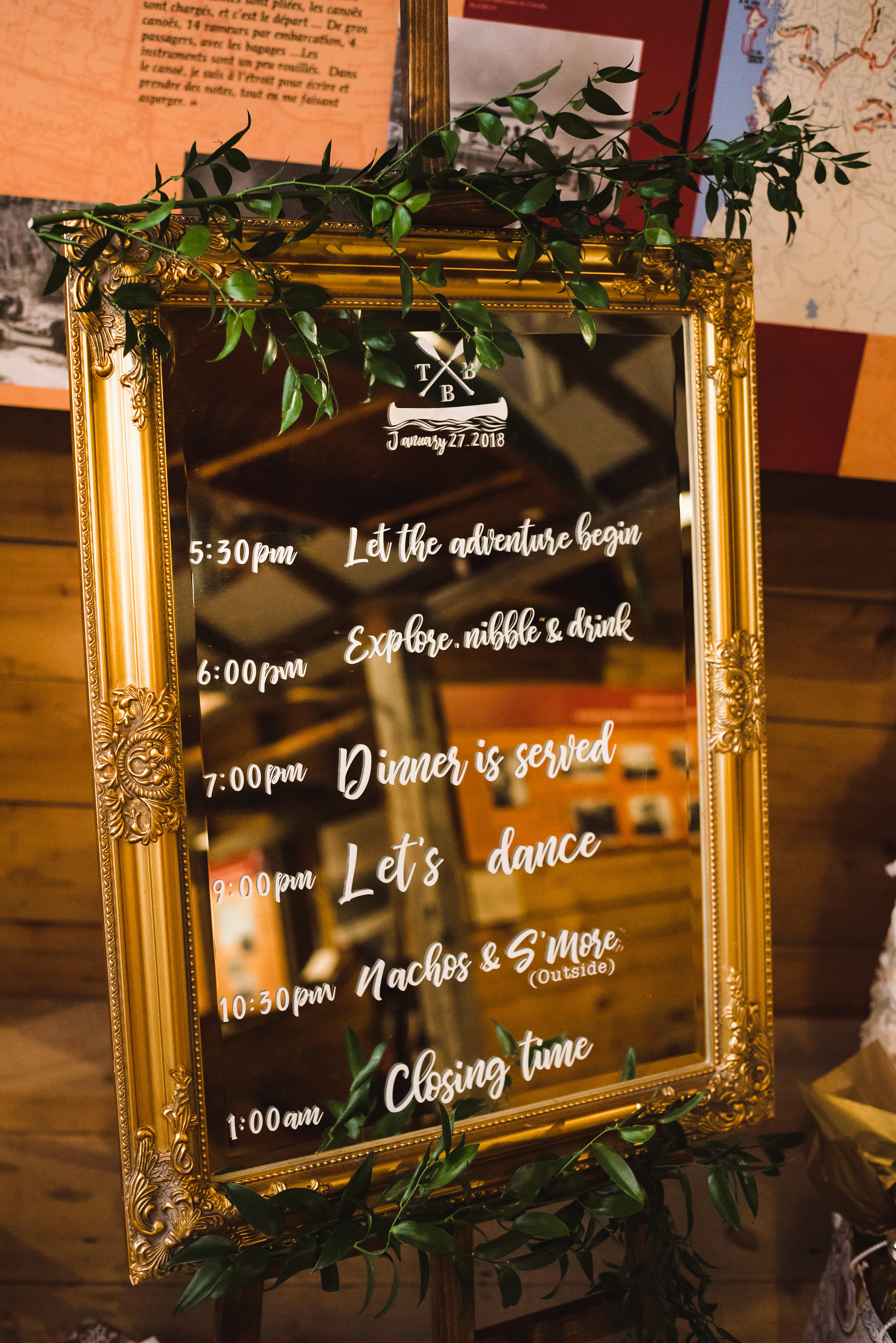 itinerary for the wedding at the Canadian Canoe Museum Peterborough