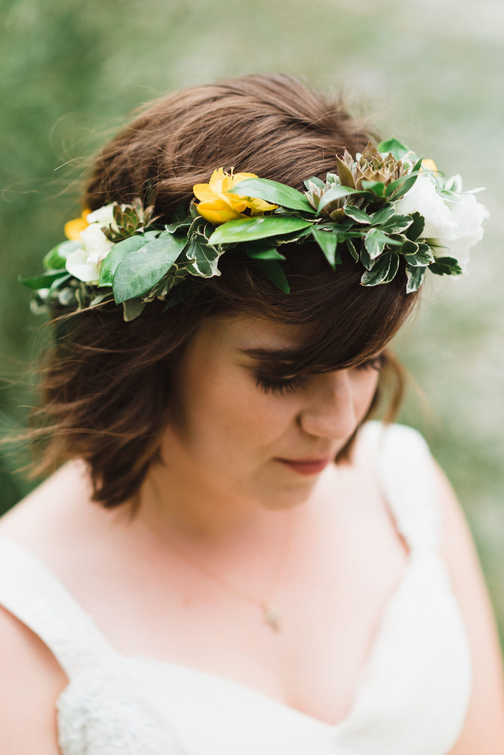 bride wearing flower crown Toronto Junction Craft Brewery wedding photography Gillian Foster