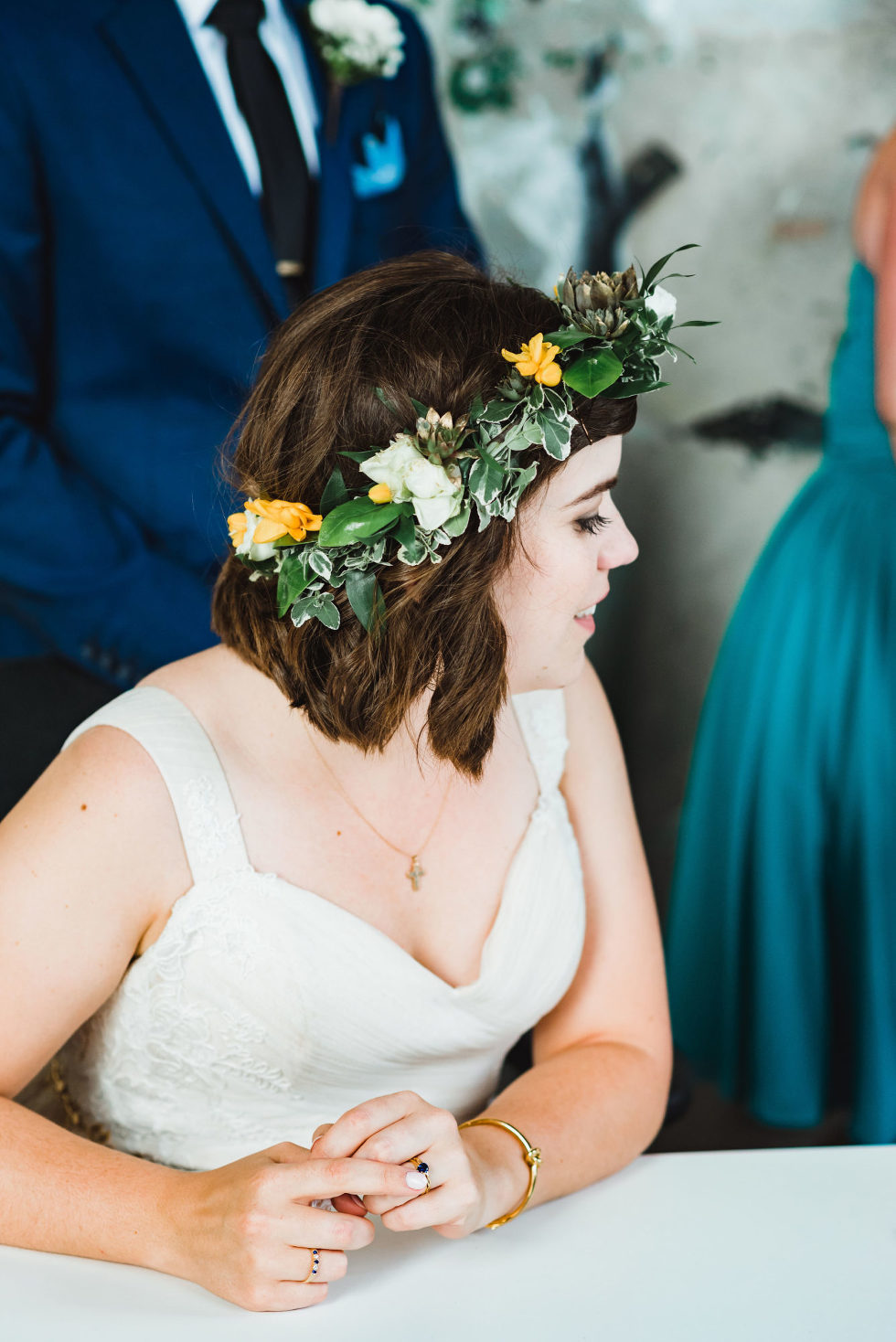 bride wearing a flower crown Toronto Junction Craft Brewing wedding photography