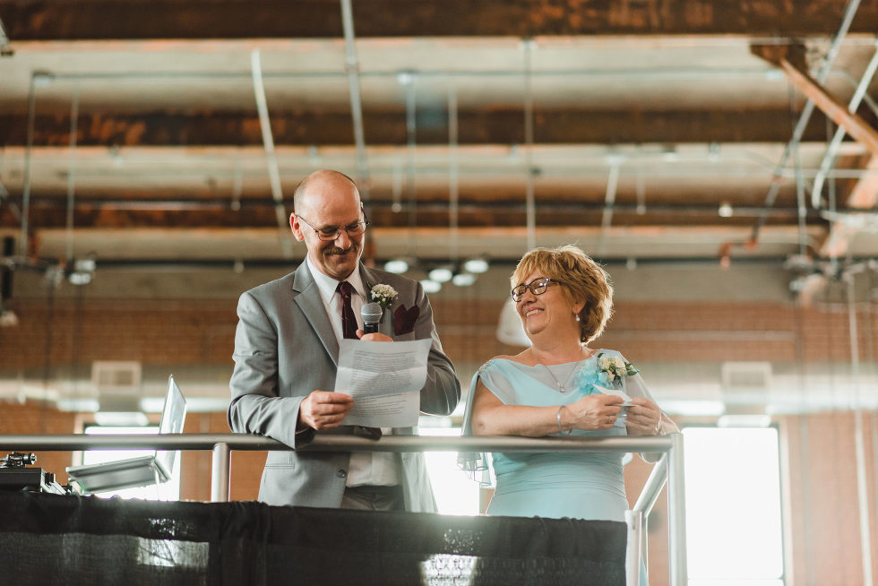 mother and father of the bride giving a toast Junction Craft Brewing wedding photography Toronto
