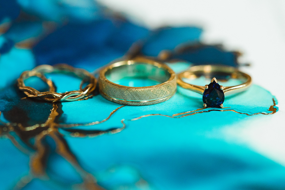 Sapphire and Gold wedding band set custom made by Fair Trade Jewellery co