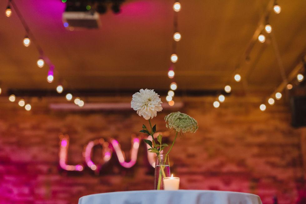 flowers at wedding reception in the Gladstone Hotel Toronto wedding photographer Gillian Foster