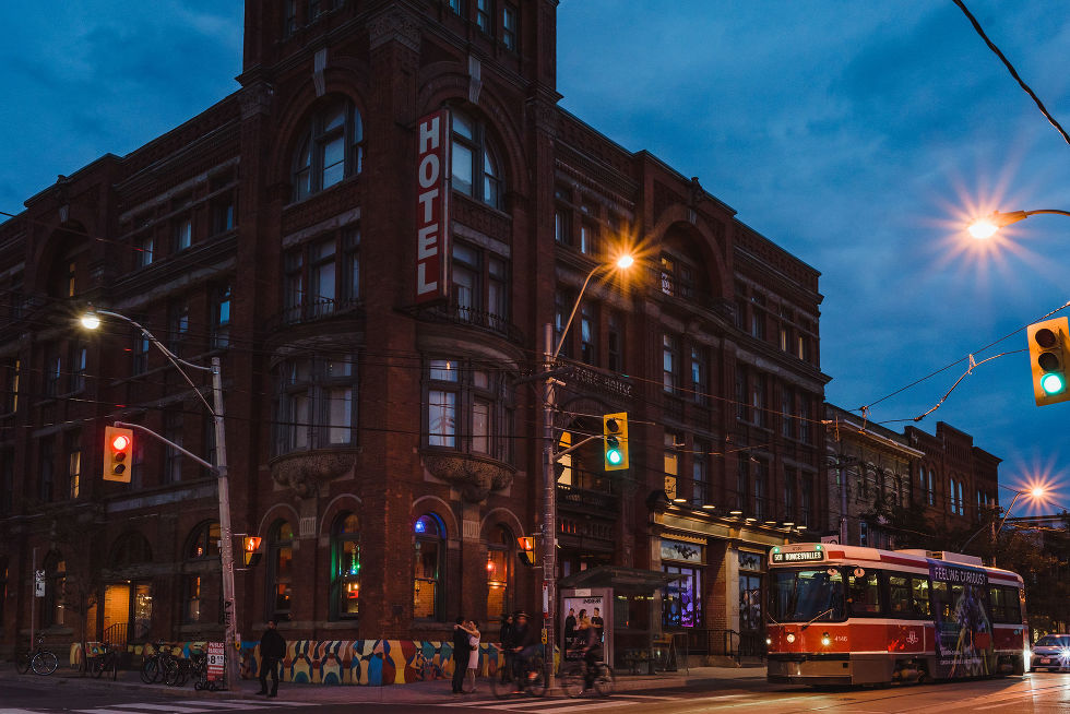 Gladstone Hotel at dusk with streetcar passing by Toronto wedding photography
