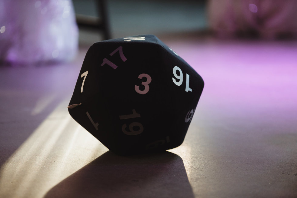 oversized dice sitting on floor of wedding venue at Steam Whistle Brewing Toronto Canada