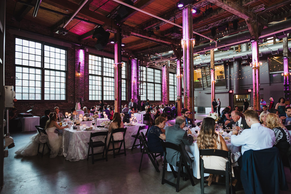wedding guests seated during wedding reception at Steam Whistle Brewing