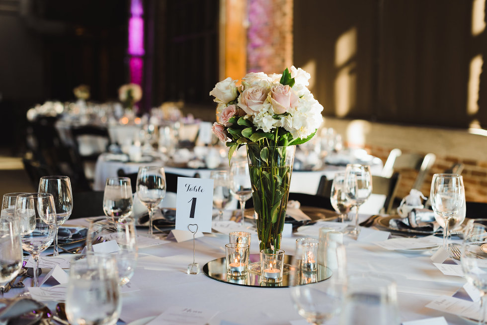 table set for wedding at Steam Whistle Brewing Toronto Canada