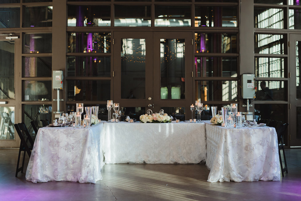 head table set for wedding at Steam Whistle Brewing Toronto Canada