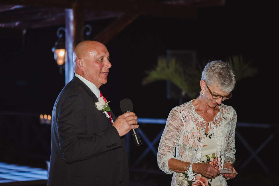 parents of the bride giving wedding speech at Now Sapphire Resort in Mexico