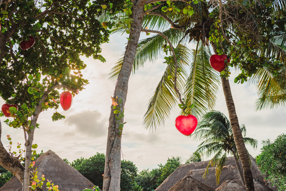 red heart decorations hanging from palm trees for Mexico destination wedding Now Sapphire Resort
