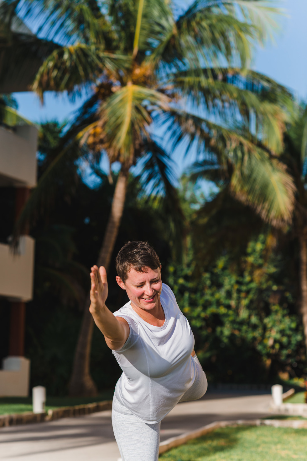 bride doing morning yoga how to be really relaxed during your destination wedding