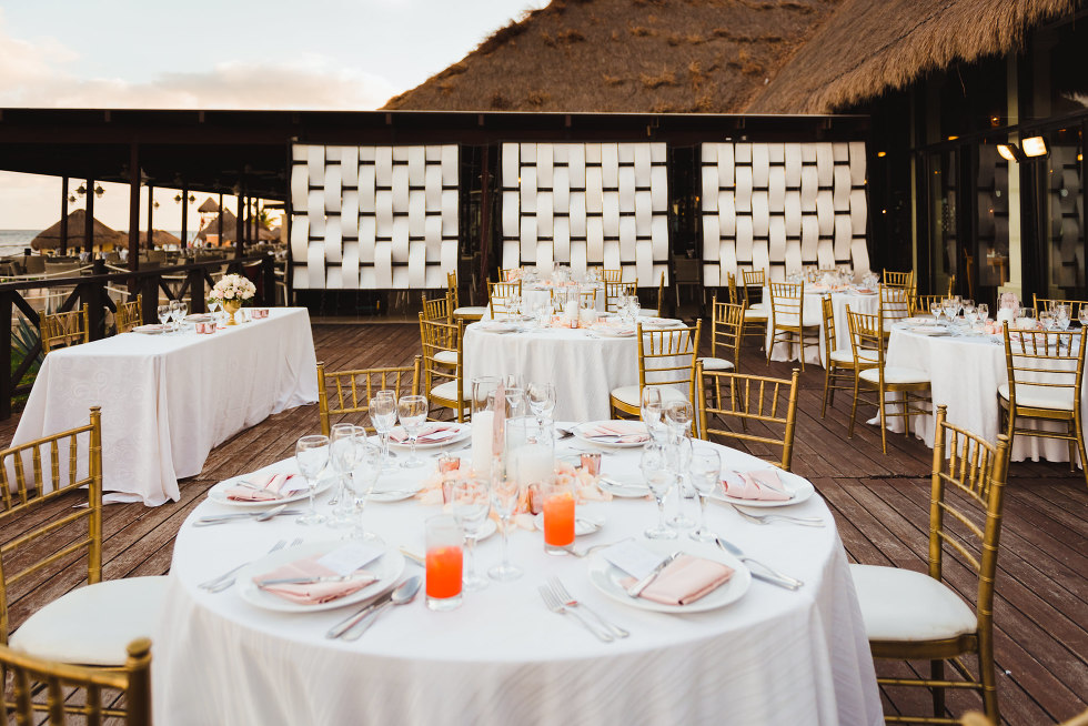 wedding reception tables at the Now Sapphire Resort in Mexico