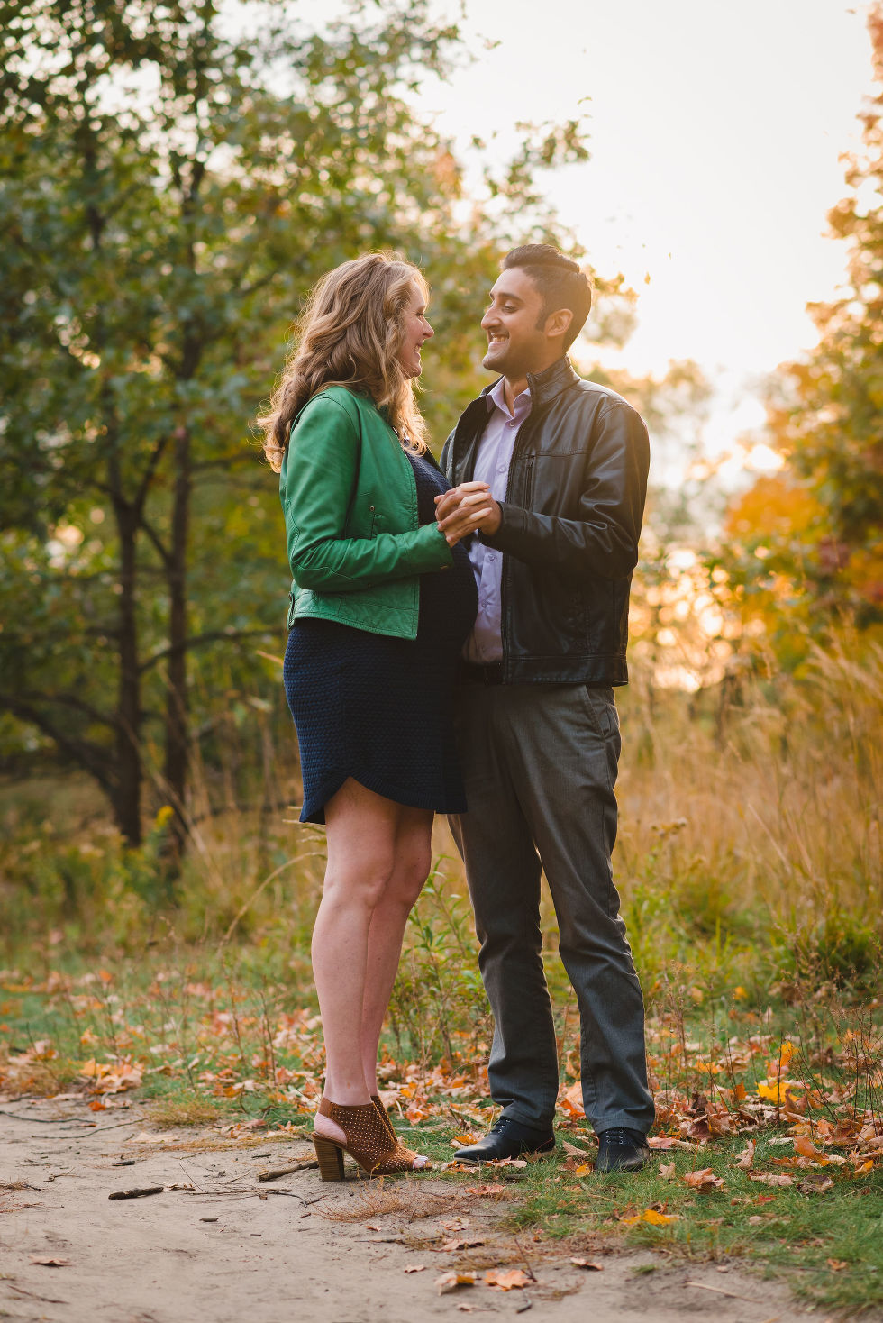 couple slow dancing in High Park, Toronto during autumn