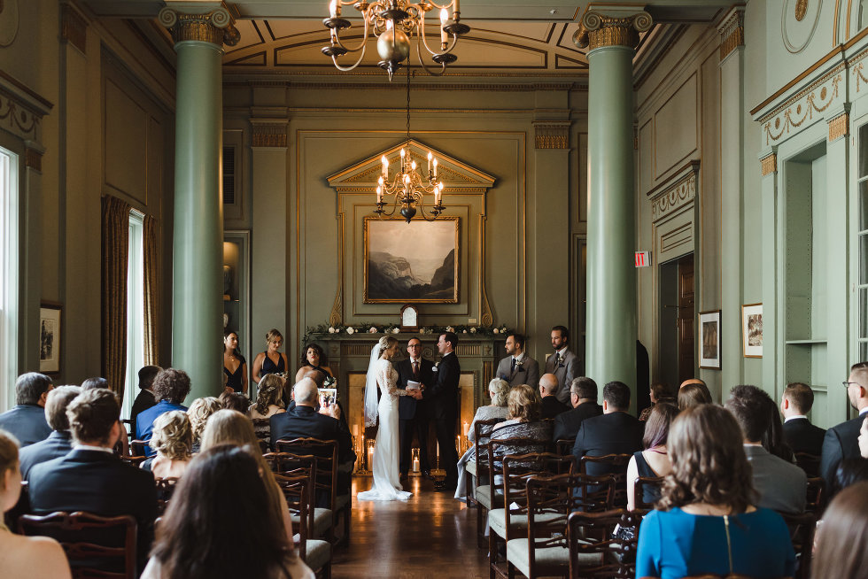 wedding ceremony taking place inside the iconic downtown wedding venue at the University Club in Toronto