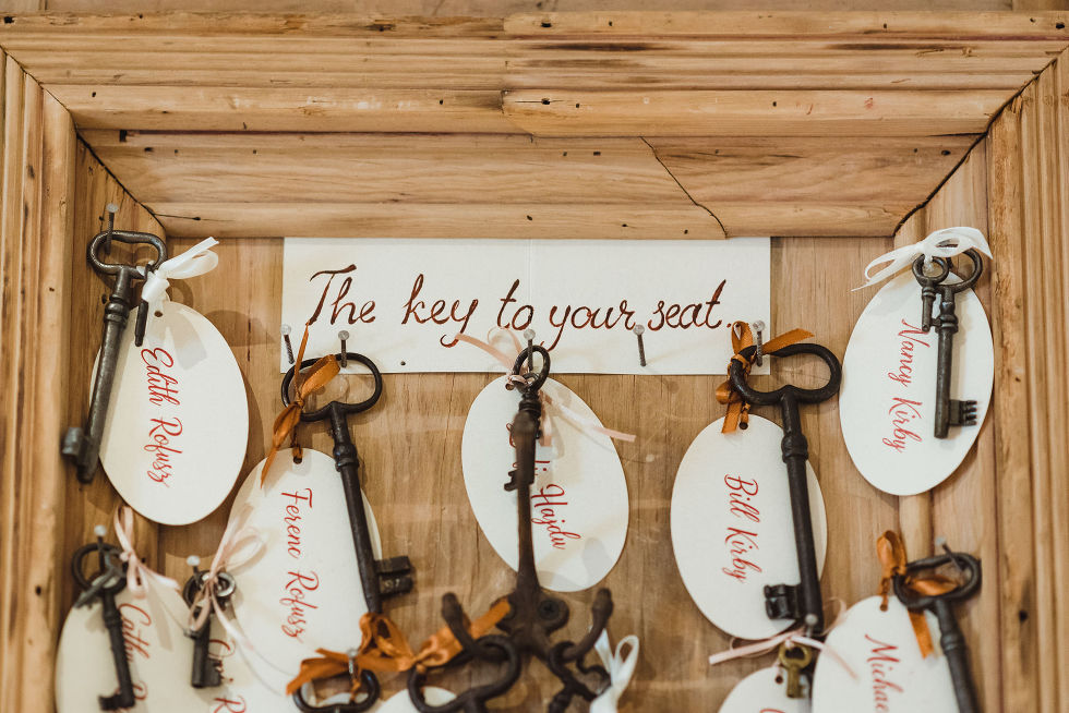 """a box filled with vintage keys and a note to wedding guests """"The key to your seat"""" for wedding at La Paletta Mansion in Burlington Ontario"""