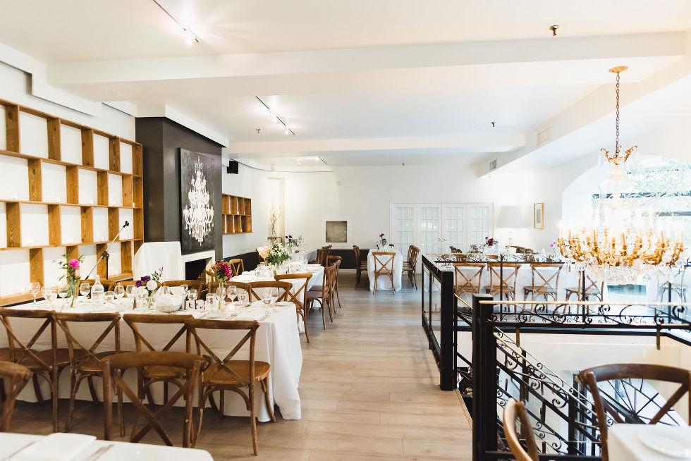 dining room set for Parisian inspired wedding at La Maquette in Toronto Ontario