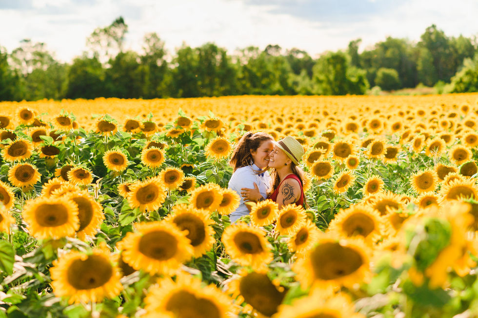 2 women with their arms wrapped around each other and laughing while standing in stunning sea of sunflowers Toronto engagement photos