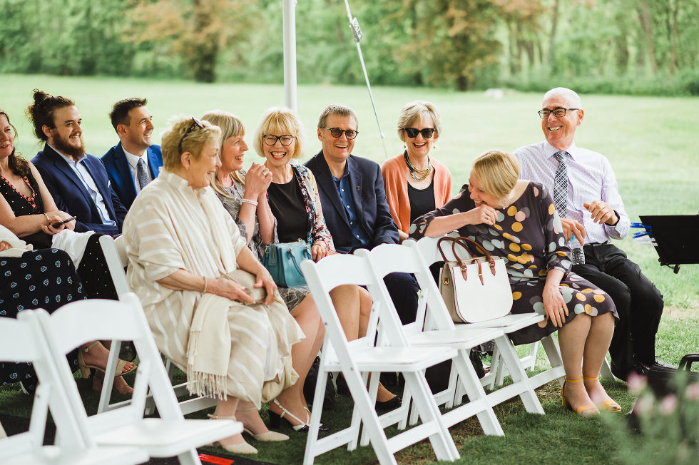 wedding guests seated before a charming southern style wedding at Ruthven Park National Historic Site