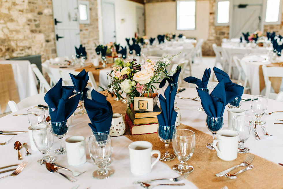 table set up for charming southern style wedding at Ruthven Park National Historic Site